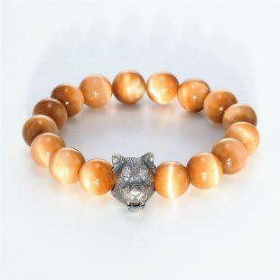 宝石キュービックを使ったアニマルと和風のデザインが特徴的な銀風ブレスレットの商品写真です。型番:GP401005-01 画像その1