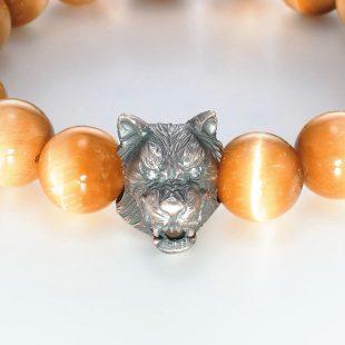 宝石キュービックを使ったアニマルと和風のデザインが特徴的な銀風ブレスレットの商品写真です。型番:GP401005-01 画像その2