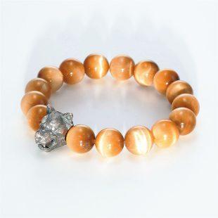 宝石キュービックを使ったアニマルと和風のデザインが特徴的な銀風ブレスレットの商品写真です。型番:GP401005-01 画像その3