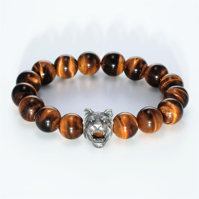 宝石その他の宝石を使ったアニマルと和風のデザインが特徴的な銀風ブレスレットの商品写真です。型番:GP401001-01 画像その1