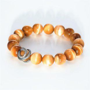宝石ルビーを使ったヘビ・爬虫類のデザインが特徴的な銀風ブレスレットの商品写真です。型番:GP401002-01 画像その3
