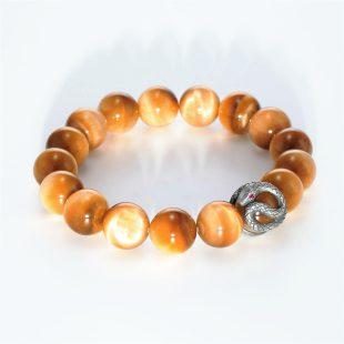 宝石ルビーを使ったヘビ・爬虫類のデザインが特徴的な銀風ブレスレットの商品写真です。型番:GP401002-01 画像その4