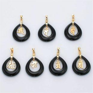 和風と梵字と開運・ラッキーのデザインが特徴的な銀風ネックレス/ペンダントの商品写真です。型番:GP201004-01~07 画像その6