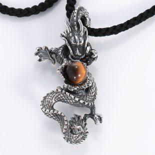 宝石ガーネットとその他の宝石を使った和風のデザインが特徴的な銀風ネックレス/ペンダントの商品写真です。型番:GP201001-01 画像その2