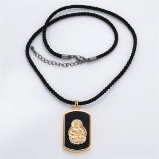 宝石オニキスを使った和風と菩薩のデザインが特徴的な銀風ネックレス/ペンダントの商品写真です。型番:GP201005-01~08 画像その1