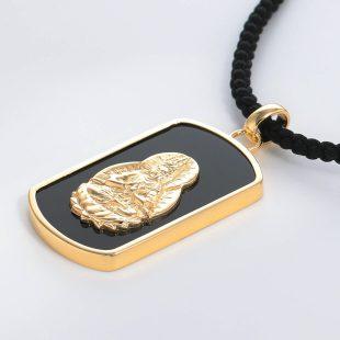 宝石オニキスを使った和風と菩薩のデザインが特徴的な銀風ネックレス/ペンダントの商品写真です。型番:GP201005-01~08 画像その3