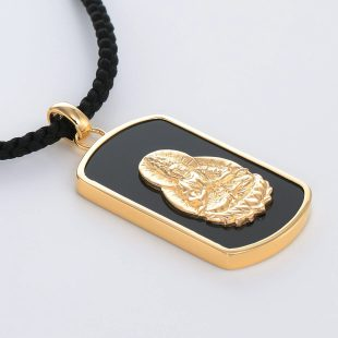 宝石オニキスを使った和風と菩薩のデザインが特徴的な銀風ネックレス/ペンダントの商品写真です。型番:GP201005-01~08 画像その4
