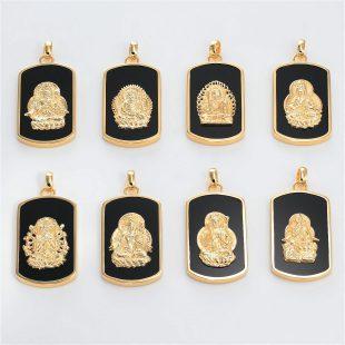 宝石オニキスを使った和風と菩薩のデザインが特徴的な銀風ネックレス/ペンダントの商品写真です。型番:GP201005-01~08 画像その6