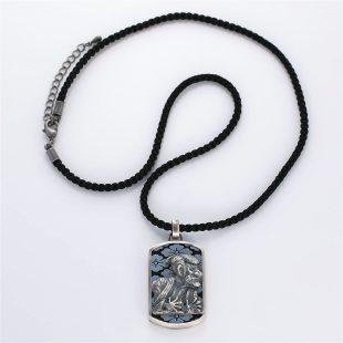 宝石オニキスを使った和風とその他のモチーフのデザインが特徴的な銀風ネックレス/ペンダントの商品写真です。型番:GP201012-01~02 画像その1