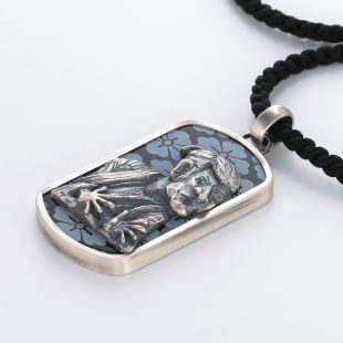 宝石オニキスを使った和風とその他のモチーフのデザインが特徴的な銀風ネックレス/ペンダントの商品写真です。型番:GP201012-01~02 画像その3