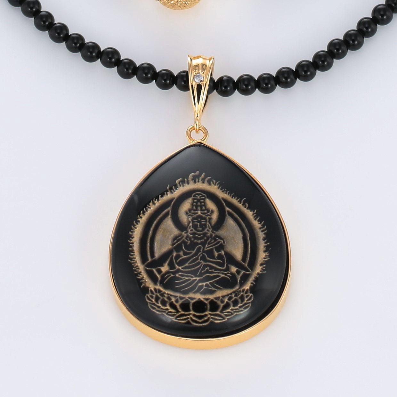 宝石オニキスとクォーツ・水晶とダイヤモンドを使った和風と菩薩のデザインが特徴的な銀風ネックレス/ペンダントの商品写真です。型番:GP201003-01~08 画像その2