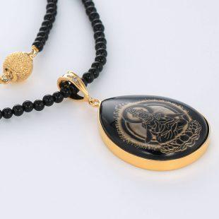 宝石オニキスとクォーツ・水晶とダイヤモンドを使った和風と菩薩のデザインが特徴的な銀風ネックレス/ペンダントの商品写真です。型番:GP201003-01~08 画像その4