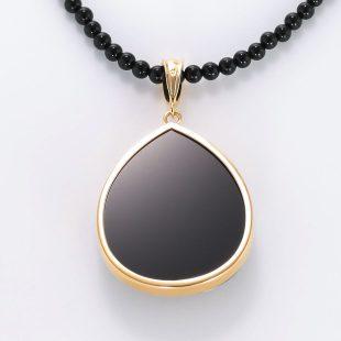 宝石オニキスとクォーツ・水晶とダイヤモンドを使った和風と菩薩のデザインが特徴的な銀風ネックレス/ペンダントの商品写真です。型番:GP201003-01~08 画像その5