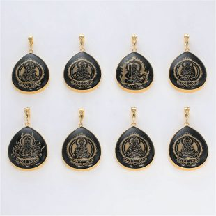 宝石オニキスとクォーツ・水晶とダイヤモンドを使った和風と菩薩のデザインが特徴的な銀風ネックレス/ペンダントの商品写真です。型番:GP201003-01~08 画像その6