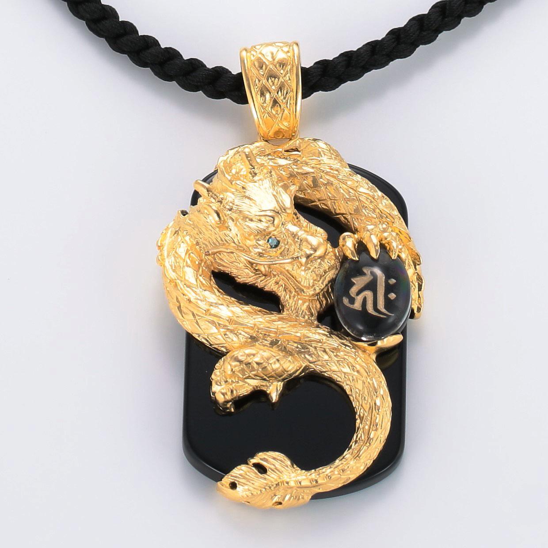 宝石オニキスとクォーツ・水晶を使ったドラゴンと和風と梵字のデザインが特徴的な銀風ネックレス/ペンダントの商品写真です。型番:GP201006-01~07 画像その2