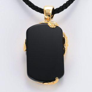 宝石オニキスとクォーツ・水晶を使ったドラゴンと和風と梵字のデザインが特徴的な銀風ネックレス/ペンダントの商品写真です。型番:GP201006-01~07 画像その5