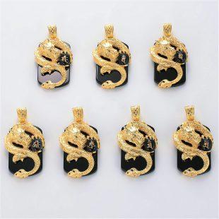 宝石オニキスとクォーツ・水晶を使ったドラゴンと和風と梵字のデザインが特徴的な銀風ネックレス/ペンダントの商品写真です。型番:GP201006-01~07 画像その6