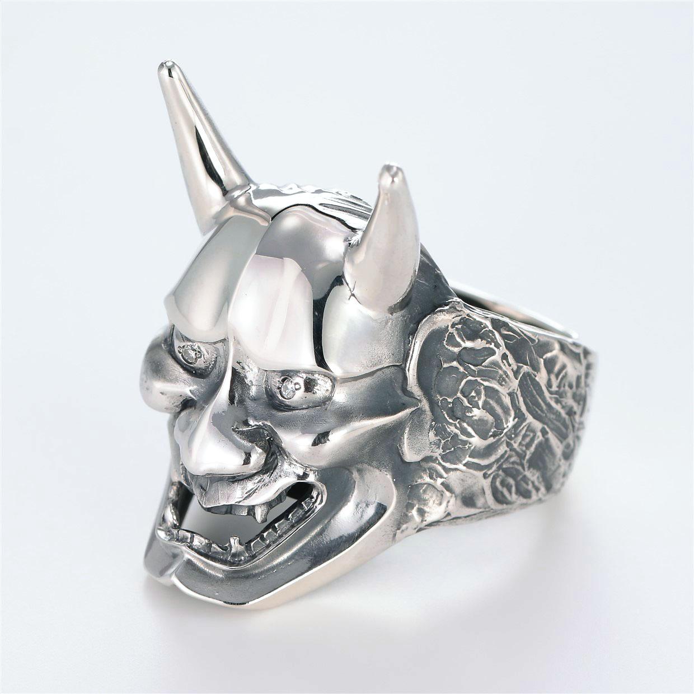 宝石ダイヤモンドを使った和風とその他のモチーフのデザインが特徴的な銀風指輪の商品写真です。型番:GP101006-01 画像その2