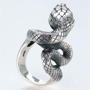 宝石ルビーを使ったヘビ・爬虫類のデザインが特徴的な銀風指輪の商品写真です。型番:GP101005-01 画像その4