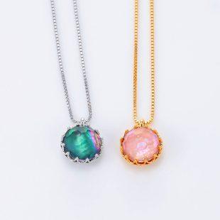 宝石クォーツ・水晶を使った和の彩ネックレス/ペンダントの商品写真です。型番:CR201001-01~02 画像その6