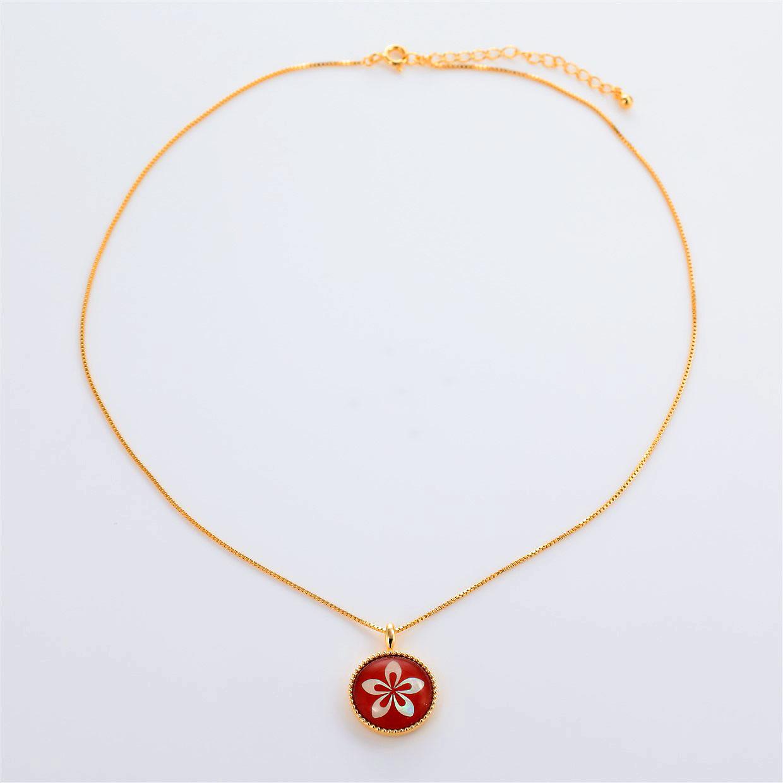 宝石クォーツ・水晶を使った花のデザインが特徴的な和の彩ネックレス/ペンダントの商品写真です。型番:CR201002-01~02 画像その1
