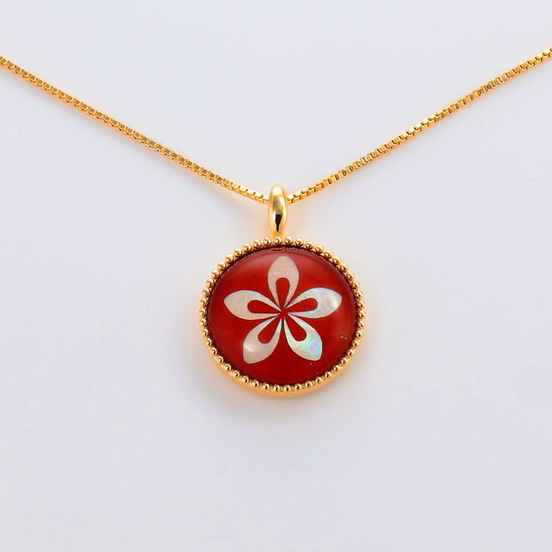 宝石クォーツ・水晶を使った花のデザインが特徴的な和の彩ネックレス/ペンダントの商品写真です。型番:CR201002-01~02 画像その2
