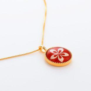 宝石クォーツ・水晶を使った花のデザインが特徴的な和の彩ネックレス/ペンダントの商品写真です。型番:CR201002-01~02 画像その4