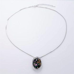 宝石クォーツ・水晶を使った花と和風のデザインが特徴的な和の彩ネックレス/ペンダントの商品写真です。型番:CR201003-01~02 画像その1
