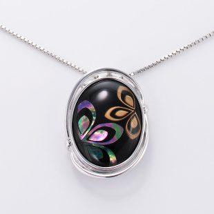 宝石クォーツ・水晶を使った花と和風のデザインが特徴的な和の彩ネックレス/ペンダントの商品写真です。型番:CR201003-01~02 画像その2