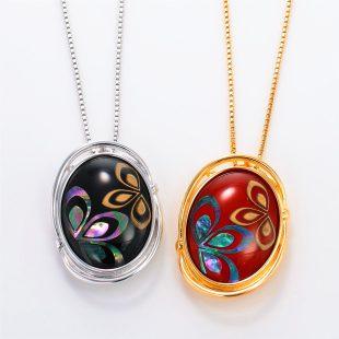 宝石クォーツ・水晶を使った花と和風のデザインが特徴的な和の彩ネックレス/ペンダントの商品写真です。型番:CR201003-01~02 画像その6