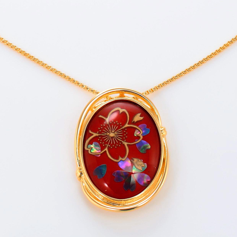 宝石クォーツ・水晶を使った花と和風のデザインが特徴的な和の彩ネックレス/ペンダントの商品写真です。型番:CR201005-01~02 画像その2