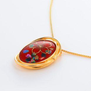 宝石クォーツ・水晶を使った花と和風のデザインが特徴的な和の彩ネックレス/ペンダントの商品写真です。型番:CR201005-01~02 画像その3