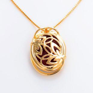 宝石クォーツ・水晶を使った花と和風のデザインが特徴的な和の彩ネックレス/ペンダントの商品写真です。型番:CR201005-01~02 画像その5