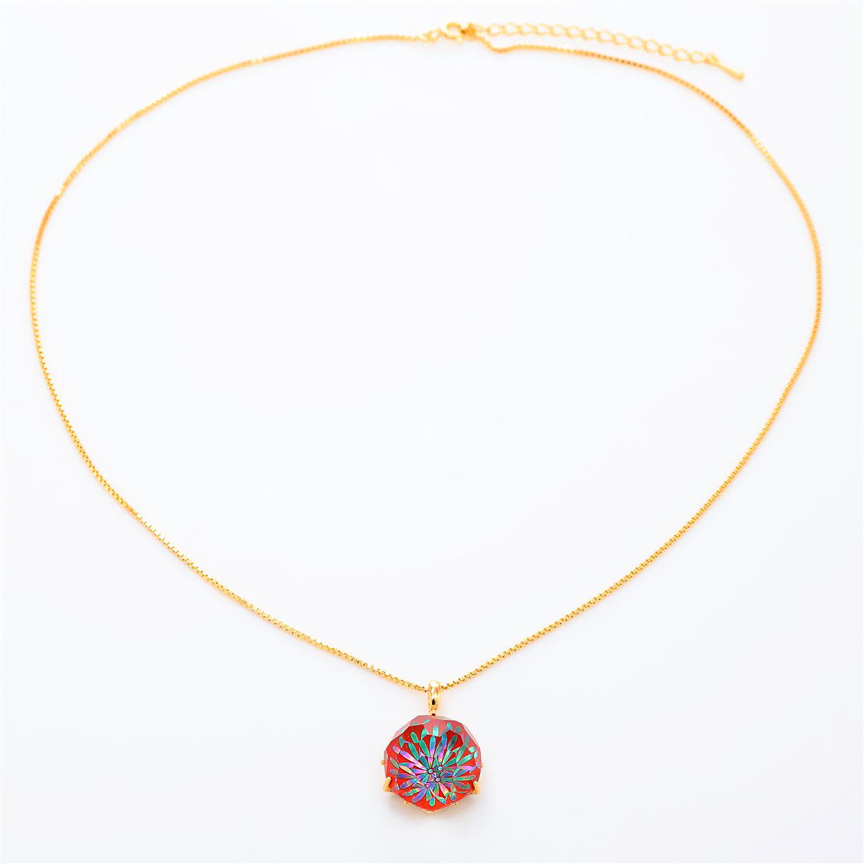 宝石クォーツ・水晶を使った花と和風のデザインが特徴的な和の彩ネックレス/ペンダントの商品写真です。型番:CR201010-01~02 画像その1