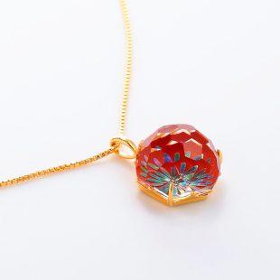 宝石クォーツ・水晶を使った花と和風のデザインが特徴的な和の彩ネックレス/ペンダントの商品写真です。型番:CR201010-01~02 画像その4