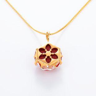 宝石クォーツ・水晶を使った花と和風のデザインが特徴的な和の彩ネックレス/ペンダントの商品写真です。型番:CR201010-01~02 画像その5