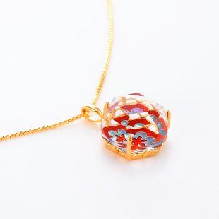 宝石クォーツ・水晶を使った花と和風のデザインが特徴的な和の彩ネックレス/ペンダントの商品写真です。型番:CR201012-01~02 画像その4