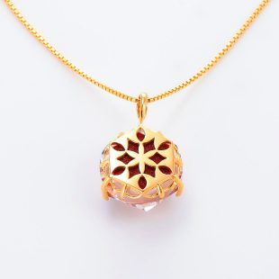 宝石クォーツ・水晶を使った花と和風のデザインが特徴的な和の彩ネックレス/ペンダントの商品写真です。型番:CR201012-01~02 画像その5