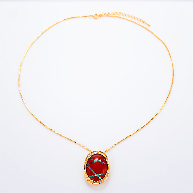 宝石クォーツ・水晶を使った和風のデザインが特徴的な和の彩ネックレス/ペンダントの商品写真です。型番:CR201004-01~02 画像その1
