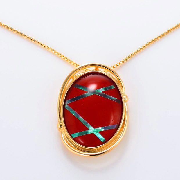 宝石クォーツ・水晶を使った和風のデザインが特徴的な和の彩ネックレス/ペンダントの商品写真です。型番:CR201004-01~02 画像その2
