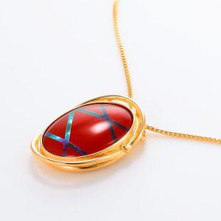 宝石クォーツ・水晶を使った和風のデザインが特徴的な和の彩ネックレス/ペンダントの商品写真です。型番:CR201004-01~02 画像その3