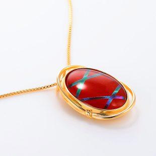 宝石クォーツ・水晶を使った和風のデザインが特徴的な和の彩ネックレス/ペンダントの商品写真です。型番:CR201004-01~02 画像その4