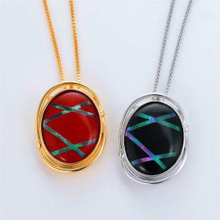 宝石クォーツ・水晶を使った和風のデザインが特徴的な和の彩ネックレス/ペンダントの商品写真です。型番:CR201004-01~02 画像その6