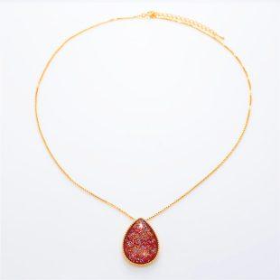 宝石クォーツ・水晶を使った和風のデザインが特徴的な和の彩ネックレス/ペンダントの商品写真です。型番:CR201007-01~02 画像その1
