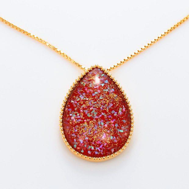 宝石クォーツ・水晶を使った和風のデザインが特徴的な和の彩ネックレス/ペンダントの商品写真です。型番:CR201007-01~02 画像その2