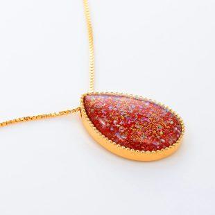 宝石クォーツ・水晶を使った和風のデザインが特徴的な和の彩ネックレス/ペンダントの商品写真です。型番:CR201007-01~02 画像その4