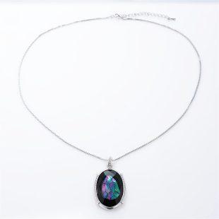 宝石クォーツ・水晶を使った和風のデザインが特徴的な和の彩ネックレス/ペンダントの商品写真です。型番:CR201008-01~02 画像その1
