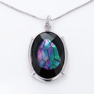宝石クォーツ・水晶を使った和風のデザインが特徴的な和の彩ネックレス/ペンダントの商品写真です。型番:CR201008-01~02 画像その2