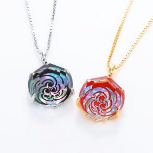 宝石クォーツ・水晶を使った和風のデザインが特徴的な和の彩ネックレス/ペンダントの商品写真です。型番:CR201011-01~02 画像その6