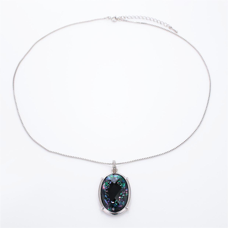宝石クォーツ・水晶を使った和風のデザインが特徴的な和の彩ネックレス/ペンダントの商品写真です。型番:CR201016-01 画像その1